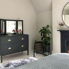 New brass handles and painting this chest in Fusion Mineral Paint Ash, has totally transformed this dresser. Living Room Bedroom, Home Bedroom, Bedroom Wall, Bedroom Decor, Bedroom Ideas, Master Bedrooms, Bedroom Inspo, Bed Room, Modern Victorian Bedroom