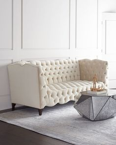 "<ul> <li>EXCLUSIVELY OURS.</li> <li>Handcrafted tufted sofa.</li> <li>Alder wood frame.</li> <li>Polyester upholstery.</li> <li>92""W x 42""D x 37""T; interior, 71""W x 20""D.</li> <li>Made in the USA of imported materials.</li> </ul>"