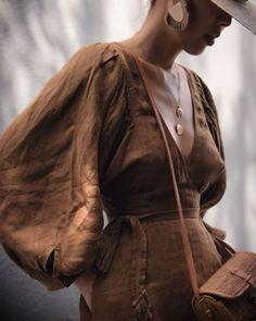 Caramel linen puff sleeve dress - Street Style can find caramel and more on our website. Aesthetic Fashion, Aesthetic Clothes, Dress Outfits, Fashion Outfits, Womens Fashion, Fashion Ideas, Linen Dresses, Dresses With Sleeves, Work Heels