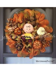 It's the Great Pumpkin Charlie Brown Mesh Wreath by Jessica's Gift Creations | CraftOutlet.com