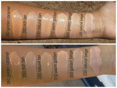 Revlon colorstay foundations swatches in golden caramel, rich tan, natural tan, warm golden, golden beige and natural beige