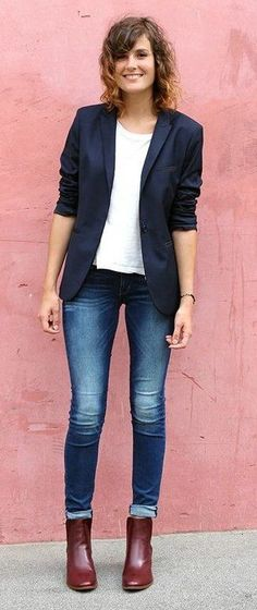 #winter #fashion /  Navy Blazer / White Top / Skinny Jeans / Leather Booties