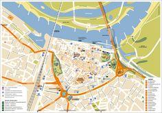 Onze centrumkaart van Nijmegen met Stadseiland Veur-Lent aan de overkant van de Waal op een A3-scheurblok voor het Regionaal Bureau voor Toerisme RBT KAN.
