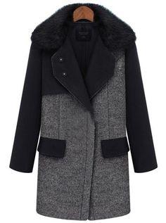Manteau à revers de fourrure unique poitrine -gris  EUR53.33