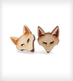 Wood Fox Stud Earrings