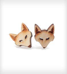 Wood Fox Stud Earrings