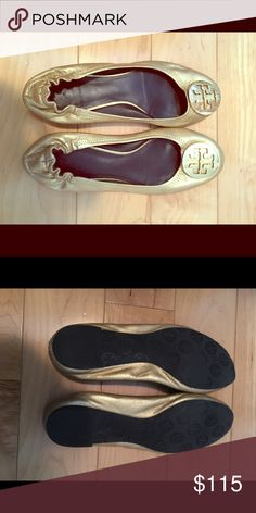 Gold metallic Tory Burch flats Perfect condition gold flats. Add the perfect pop to any outfit. Tory Burch Shoes Flats & Loafers