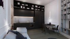#black kitchen #interior #design #black #white #residential