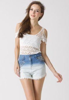 Crochet Cut Off Top