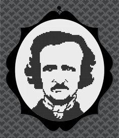 Edgar Allan Poe Silhouette Cross Stitch PDF Pattern by kattuna