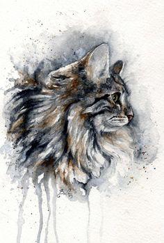 "*Watercolor - ""Cat"" by bcduncan (MoMo)"