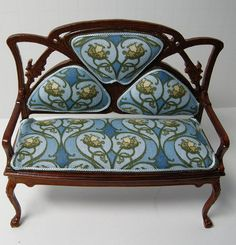 DSCN9241 | Flickr - Photo Sharing! Art nouveau custom upholstered dollhouse settee. Dollhouse miniature reupholstered by Ken Haseltine.
