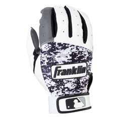 Franklin Sports Digitek Adult Batting Glove - Gray/White/Black Digi (XL), Black Gray White