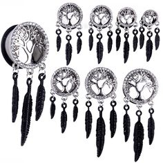 1 Pair Surgical Steel Crystal Tree of Life Feather Dangle Ear Plugs Saddle Flesh Tunnel Ear Gauge Expander Body Piercing Jewelry