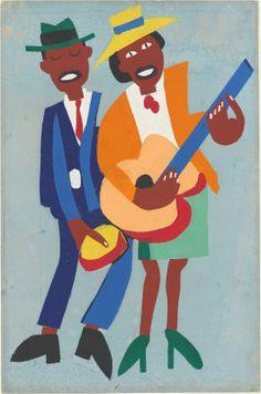 William Henry Johnson (American, Blind Singer, c. Color silkscreen print on paper. William H Johnson, Henry Johnson, African American Artist, American Artists, Native American, Blogger Templates, Illustrations, Illustration Art, Art Beauté