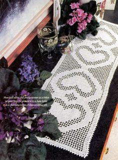 Z354 Filet Crochet PATTERN ONLY Heart of My Heart Table Runner Scarf via BeadedBundles