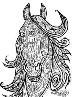 Horse Tribal Head Art by Marie-Justine Roy lineart illustrator and artist.