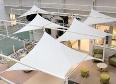 Chelsea and Westminster Hospital Tensioned Frames Incorporating Fabric Sails and Lighting