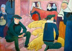 Émile Bernard (1868-1941) - Le marché aux cochons, 1892.