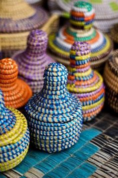 Colorfull handcrafted baskets, Senegal. Got one of these love it. all the way from The GAMBIA