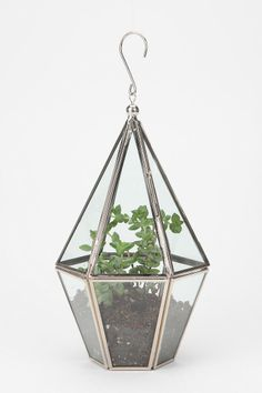 "Faceted Terrarium from Urban Outfitters. $29.00    Overview:  * Tall glass terrarium perfect for hanging  * Faceted with iron trim; latch door  * Attached hook at the top  * Ready for you to DIY - does not include plants  * 5.5""w, 5.5""d, 11""h  * UO Exclusive"