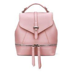 Cuero-Mirada Mini Mochila en Todo Pink