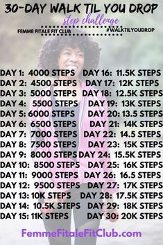 Get more consistent with walking with our 30-Day Walk Til You Drop Step Challengs. #hearthealth #cardio #walkofftheweight #walktilyoudrop #walkchallenge #stepchallenge Low Impact Cardio Workout, Fun Workouts, At Home Workouts, Fitness Workout For Women, Fitness Tips, Fitness Motivation, Fitness Challenges, Fitness Workouts, Month Workout