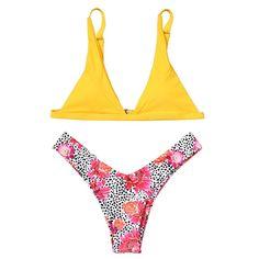 Leopard Floral Bikini Set
