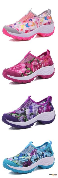 US$30.99 + Free shipping. Size: 5-9. Color: Blue, Pink, Purple, Rose. Fall in love with casual and cute style! Flower Mesh Breathable Platform Rocker Sole Casual Shoes.
