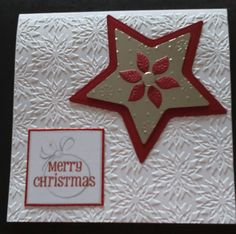 Pointsettia embossed background from Crafter;s companion diesire range, layered star and sentiment 2016