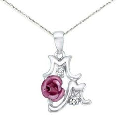 Mom Pendant with Pink Rose and Cubic Zirconia Accents Mother's Day Sterling Silver AzureBella Jewelry. $33.92. Sparkling cubic zirconia. .925 sterling silver. Three dimensional rose flower. Gift boxed