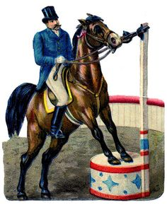Vintage Circus Graphic - Ringmaster on Horse - The Graphics Fairy