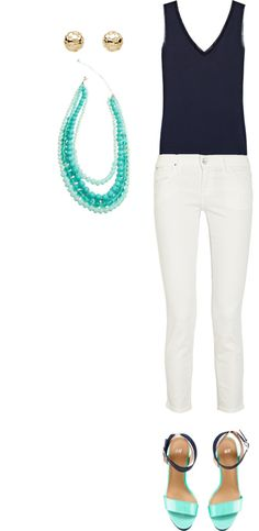 Styled: Navy Blue, White Jeans, Turquoise, H navy blue and turquoise heels