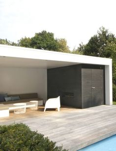 Whilst age-old throughout notion, the particular pergola is encountering a bit of a modern day Outdoor Lounge, Outdoor Pool, Outdoor Chairs, Outdoor Decor, Garage Design, House Design, Garden Cabins, Timber Roof, Backyard House