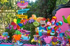 Alice in Wonderland / Mad Hatter theme party decorations and props available to rent from : Wonderland Party Props ( 661 250-8164 )