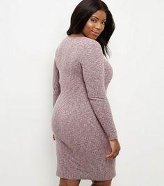 Curves Burgundy Ribbed V Neck Mini Dress   New Look