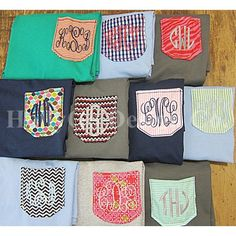 Monogrammed Pocket T Shirt- I need to get a bunch of tee's and get @Jennifer Eubanks to do this for me! Would be cute with scrub pants at work :)
