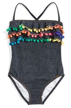 PILYQ Pompom Ruffle One-Piece Swimsuit (Toddler Girls & Little Girls) available at #Nordstrom