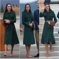 The Cambridge's arriving in Whitehorse, Yukon Catherine wore her hobbs green trench coat which may look familiar it was worn in 2014 at the St Patrick's day service, The Duchess is also holding a maple leaf tartan scarf the official national tartan of Canada. #KateMiddleton #TheDuchessOfCambridge