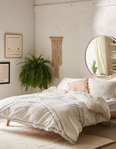 mirror above bed