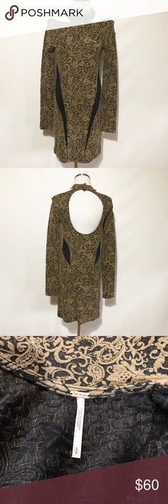 Free People Paisley Floral Open Back Bodycon Dress No flaws. Color is almost an olive green/ taupe color. Free People Dresses Mini