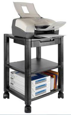Office Printer Stand Work Station Desk Mobile Storage Drawer Organizer Shelves #Kantek