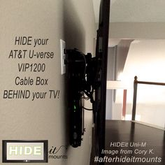 """Wall Mounted Cable Box neatly HIDDEN behind the TV with HIDEit Uni-M. The Uni-M adjusts to fit a vertical height of 10-13.95"""", depth of 1.5-2.75"""", length 8"""". Additional sizes available at HIDEitMounts.com"""