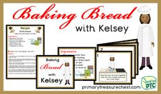 Kelsey who is the chef, shows children how to cook bread, using a child friendly language and also many illustrations to help the children to read the text. Teaching Activities, Teaching Resources, Teaching Ideas, Primary Resources, White Bread, Cake Shop, 2 Ingredients, Bread Baking, Bread Recipes