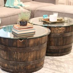 Motor City Barrels' wine barrel table is made of American white Oak wood. This beautiful coffee table with its durable round glass top brings a combination of both unique style and function to any room of your home.