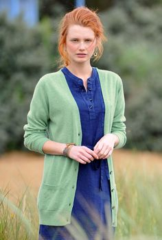 SS13 - Cashmere Long Line Cardigan in Sea Holly