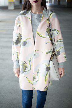 Pink crane coat from H&M, kelseybang.com
