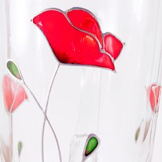Red Poppy Mug - Original Handpainted Flower Coffee Mug Red poppies are among the most beautiful wild flowers. They enchant us with their vibrant colours and their beauty of simplicity. With this Red Poppy Mug, summer will always be with you. Ive created this original red poppy design to reflect this combination of simple lines and powerful colours. The unusual stained glass painting technique makes you want to look at the mug endlessly. This Red Poppy Mug will make an excellent gift for a…