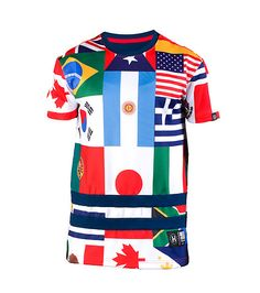 HUDSON Stretch tee Short sleeves All-over flags print Crew neck
