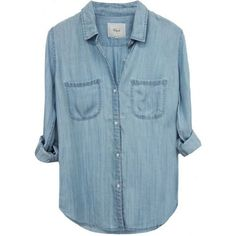 Rails Carter Button Down In Railroad stripe ($147) ❤ liked on Polyvore featuring tops, striped top, relaxed fit tops, blue striped top, button up tops and button down top